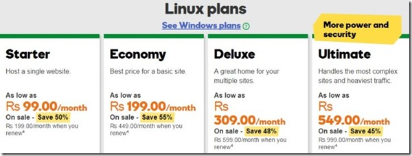 godaddy linux plans prices website hosting