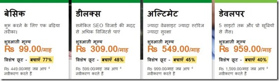 wordpresshosting prices godaddy in rupees