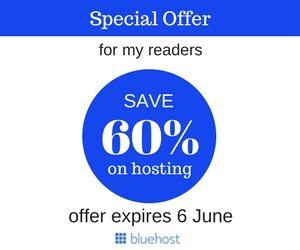 bluehost  june 2017offer 60% off at $2.95 a month price from start a blog >